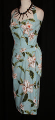 Hawaiian sarong - Vintage 1950s inspired halter dress with white orchids on blue XS XL