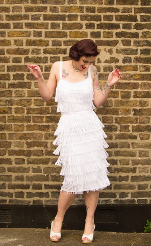 Wanda - Vintage 1950s Inspired Fully Fringed rockabilly Dress in White