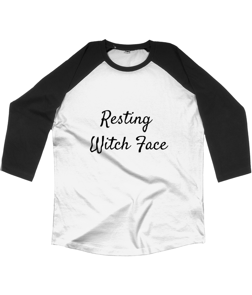 Resting Witch Face black and white baseball t shirt