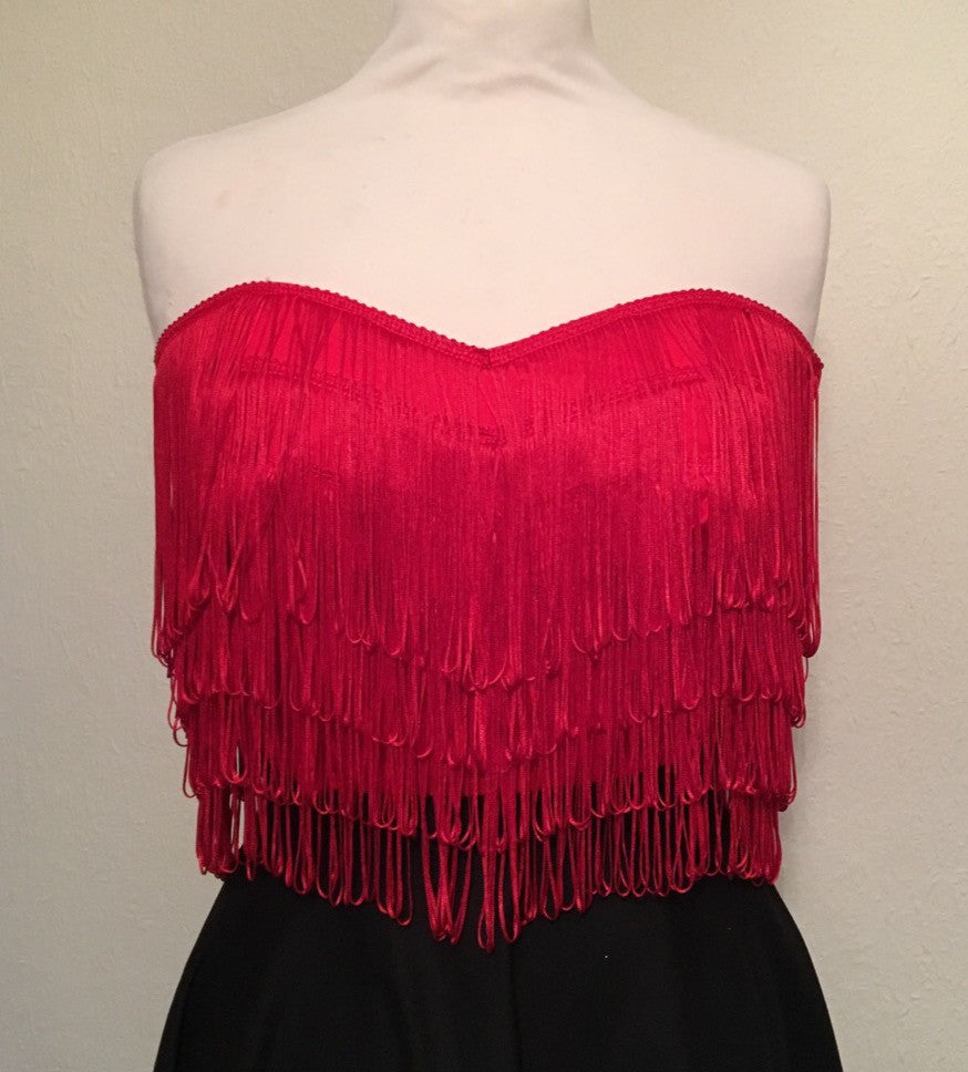 Wanda Bustier - vintage 1950s inspired red fully fringed strapless top Size XS to XXL