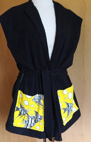 Beach robe - black terry towelling with angel fish XS S M