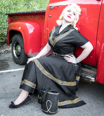 Patio dress vintage 1950s inspired black gold and silver silver Mexican themed full circle XS to 3XL