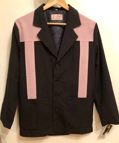 Vintage 1950s style Mans Hollywood resort two tone pink and black jacket