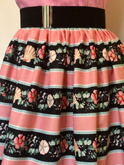 Full dirndl skirt in pink shell print vintage 1950s style XS to XXL