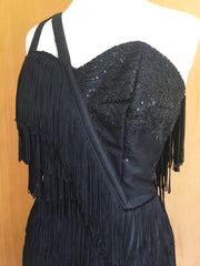 Bettina 1950s vintage reproduction fully fringed black cocktail dress