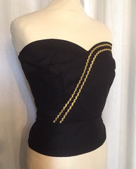 vintage 1950s inspired repro black gold Mexican Carmen strapless bustier sun top