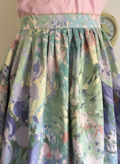 1950s inspired Full dirndl skirt in vintage 1980s abstract floral XS to XXL