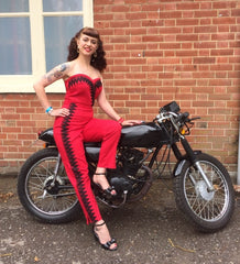 Celeste - 1950s inspired cigarette pants in red and black XXS to XL