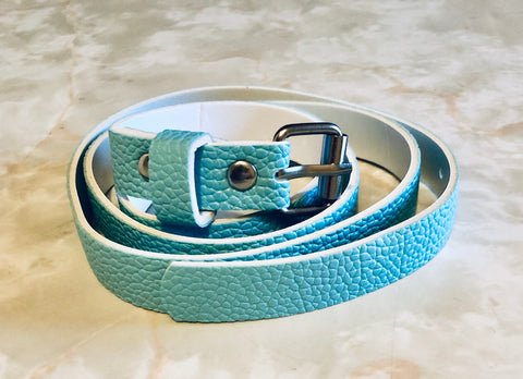 Leather look narrow baby blue belt