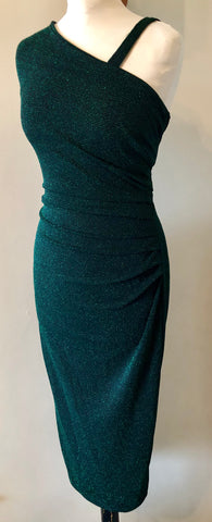 Kitty Vintage 1950s inspired emerald green lurex and black cocktail wiggle dress