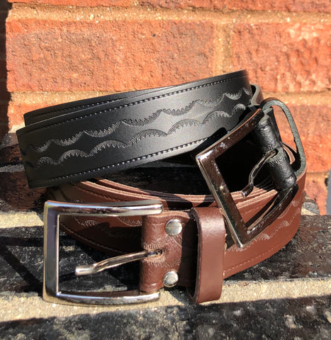 Jeans belt embossed leather black or brown