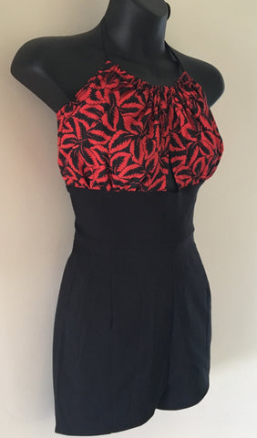 Bella Peek A Boo 1950s inspired vintage red leaf and black playsuit XL