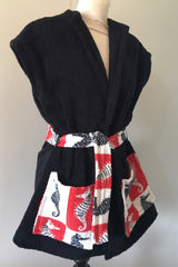 1950s vintage towelling beach robe black red seahorse swimsuit cover up