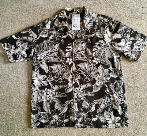 Hawaiian shirt retro black and white XL