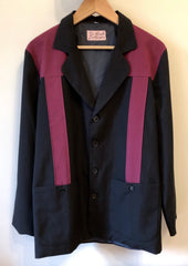 Vintage 1950s style Mans Hollywood resort two tone jacket in burgundy and black L only
