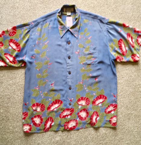 Hawaiian Avanti shirt 1950s vintage style blue grey silk XL