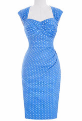 sky blue polka dots cocktail wiggle cut out keyhole vintage 1950s style dress