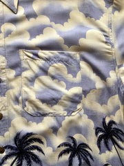 Hawaiian rayon shirt 1950s vintage style lilac and black palm trees M L/XL