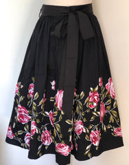 Full dirndl vintage 1950s style skirt black with pink roses border print vintage 1950s S to 3XL