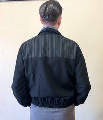Mens 1950s vintage gab style jacket black grey silver stripe M to XL