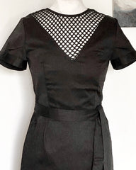 Cherie Classic vintage 1950s style black Cocktail pencil dress with nude effect mesh XS to 3XL
