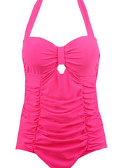 Keyhole hot pink vintage 1950s style swimsuit M to XXL