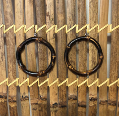 Tiki natural dark bamboo earrings perfect for 1950s Hawaiian dress
