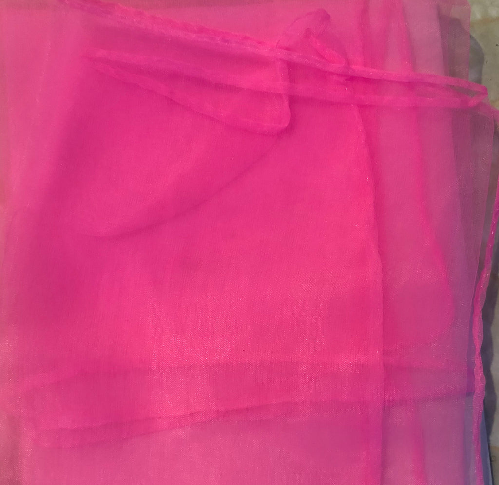 Chiffon scarf square bright pink 1950s vintage pinup style