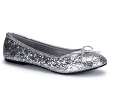Pleaser Star glitter ballet flat shoes in silver