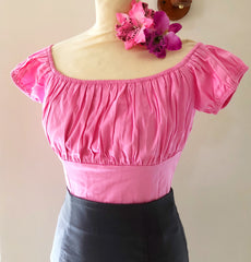 Gypsy top Vintage 1950s style pink fitted gypsy top