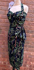 Hawaiian Vintage 1950s style black bamboo sarong tiki dress XS to XXL