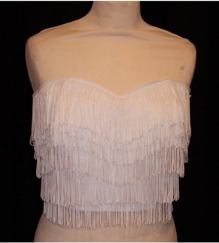 Wanda Bustier - vintage 1950s inspired white fully fringed strapless top Size XS to XXL