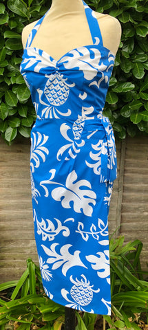 Hawaiian Vintage 1950s style blue pineapples sarong tiki dress XS to XXL