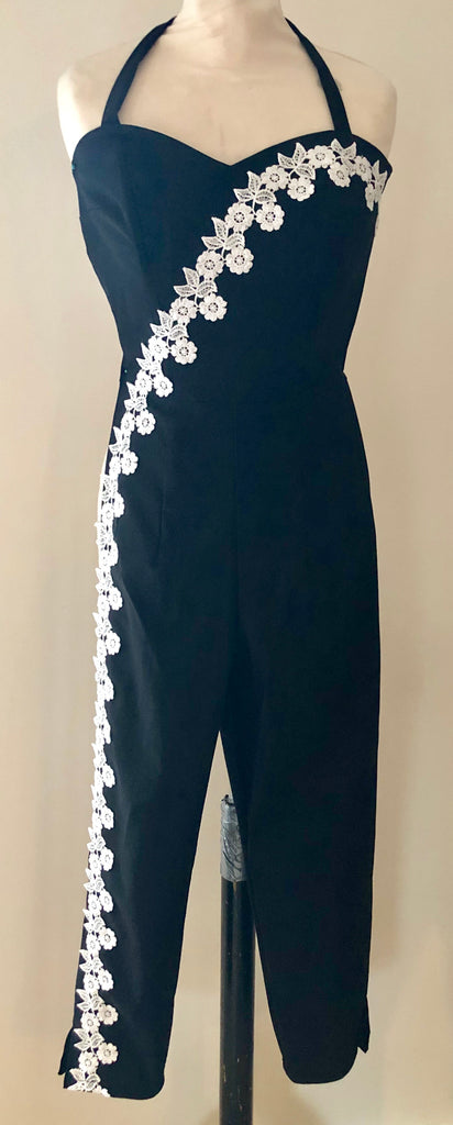 Vintage 1950s style Black jumpsuit with ivory lace XS to XL