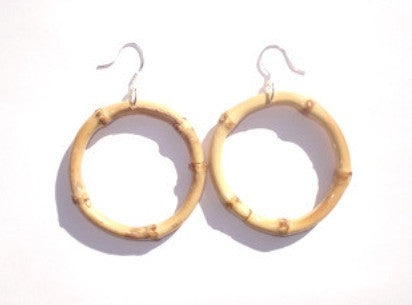 Tiki natural bamboo earrings perfect for 1950s Hawaiian dresses!