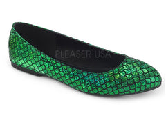 Pleaser Mermaid metallic ballet flat shoes in emerald green