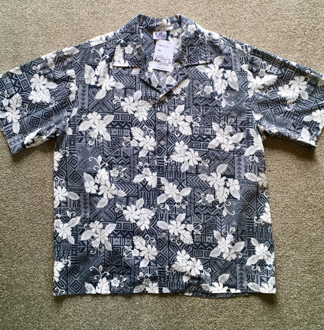 Hawaiian shirt retro grey and white hibiscus L/XL