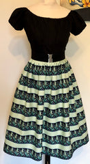 Full dirndl swing skirt mint lily of the valley novelty print vintage 1950s style XS to XXL