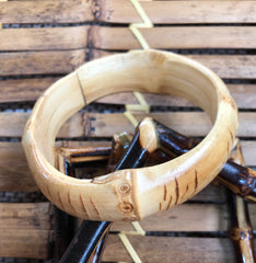 Tiki natural bamboo wider bangles perfect for vintage style 1950s Hawaiian outfits