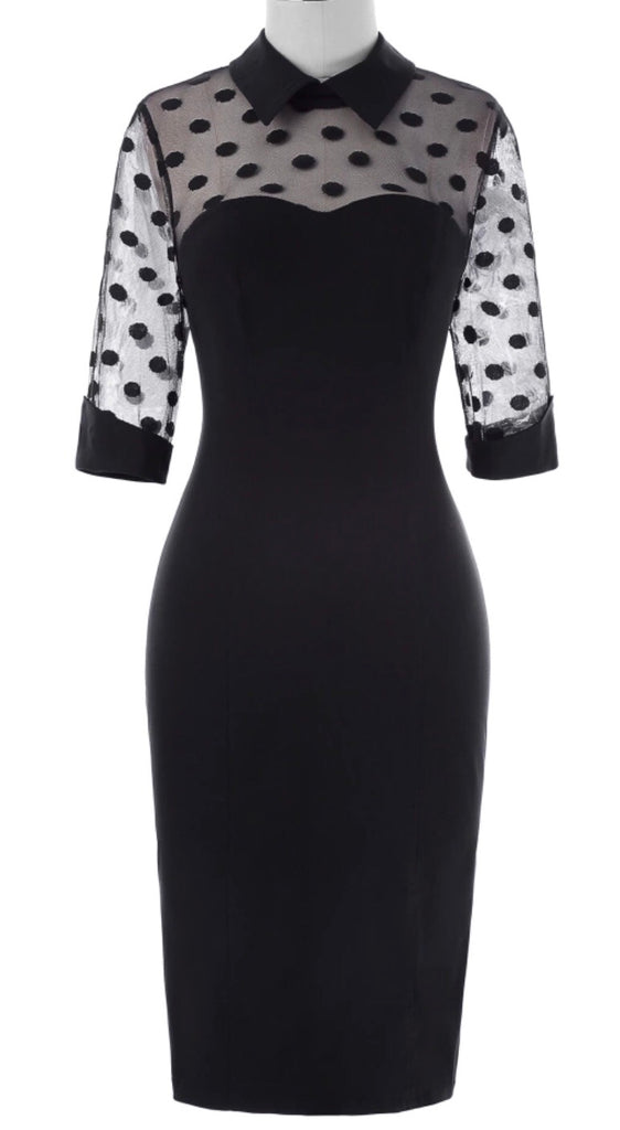 Bewitched vintage 1950s style black and lace cocktail wiggle dress