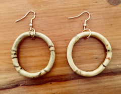 Tiki style smaller natural bamboo earrings
