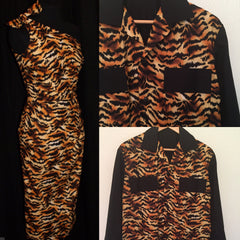 vintage 1950s inspired cocktail wiggle dress tiger animal print pinup and shirt