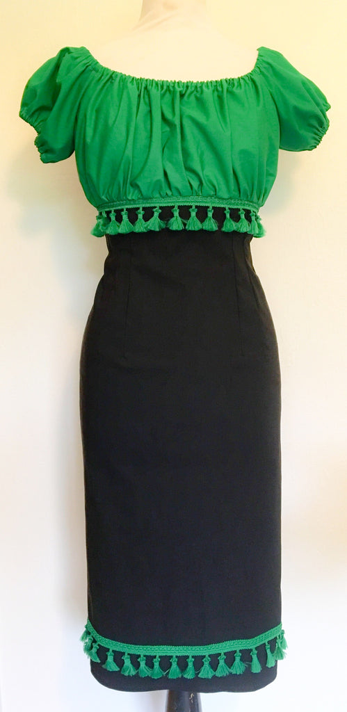 Gypsy wiggle green tassels dress - Vintage 1950s inspired rockabilly dress