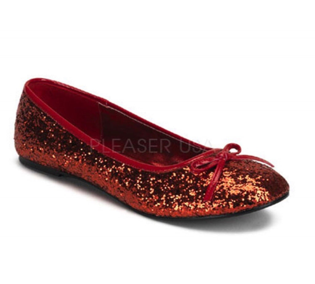 Pleaser Star glitter ballet flat shoes in cherry red