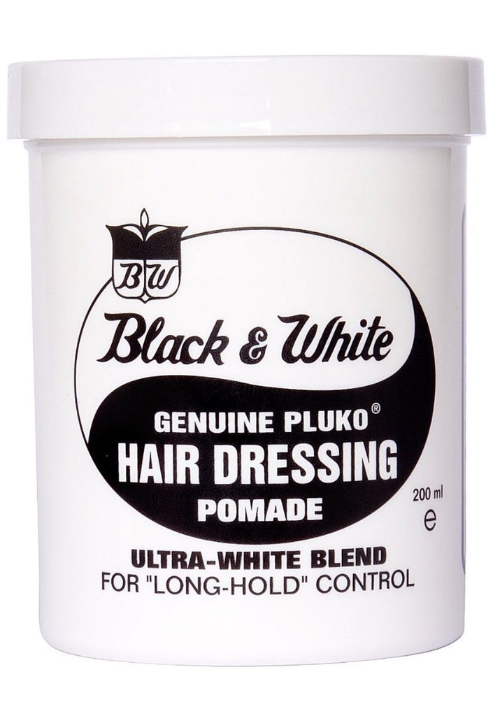 black and white hair dressing pomade pluko mens grooming