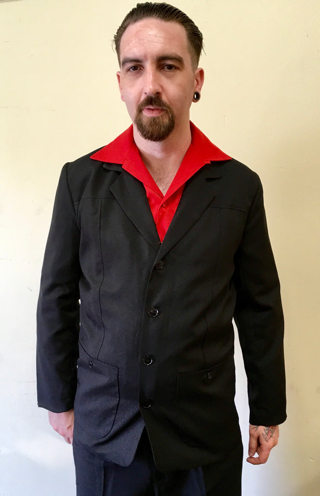 Vintage 1950s style Mans Hollywood resort panelled black jacket