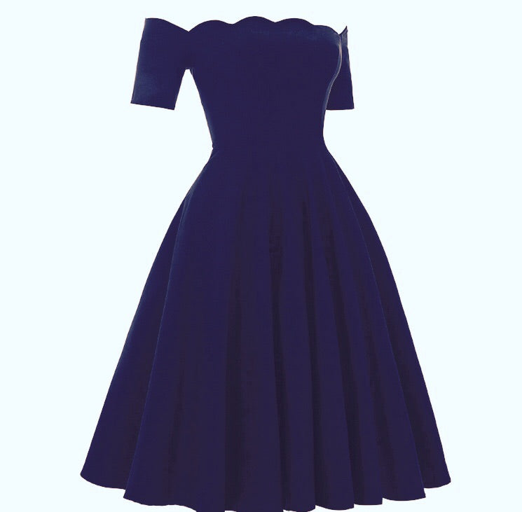Carla Vintage 1950s style darkest blue full circle rock n roll dress S M L XL