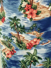 Hawaiian 1950s vintage style blue islands print sarong dress XS to XXL
