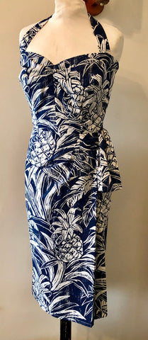 Hawaiian sarong Vintage 1950s inspired halter neck wrap around dress blue and white pineapples XS only