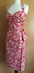 Hawaiian - 1950s vintage inspired red white Halter neck sarong dress XS to XXL
